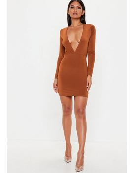 Orange Plunge Gathered Mini Dress by Missguided