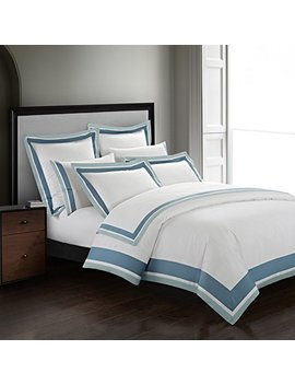 Casabolaj Shading 3 Pieces Duvet Cover Set Quilt Cover 100 Percents Egyptian Cotton Sateen 400 Thread Count Classic And Contemporary Frame Patchwork Button Closure And Corner Ties White/Blue/Sapphire (King) by Casa Bolaj Designed To Dream