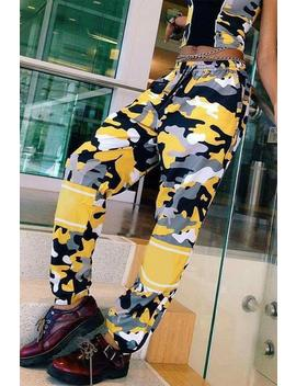 Camouflage Contrast Color Patchwork Tie Up Harem Pants by Lupsona