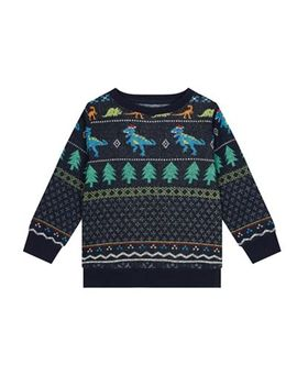 Bluezoo   Boys' Navy Dinosaur Fair Isle Christmas Sweat Top by Bluezoo