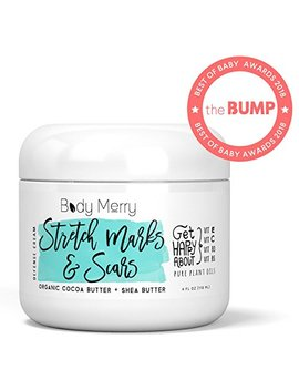 Stretch Marks & Scars Defense Cream  Daily Moisturizer W Organic Cocoa Butter + Shea + Plant Oils + Vitamins To Prevent, Reduce And Fade Away Old Or New Scars Best... by Body Merry