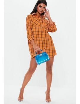 Orange Plaid Oversized Shirt Dress by Missguided