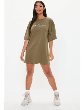 Khaki Oversized Graphic New Generation T Shirt Dress by Missguided