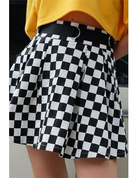 Cool Checker Print Pleated Skirt by Lupsona