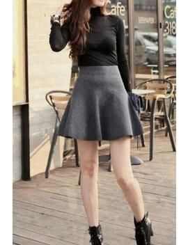 Knitted High Waist Bubble Skirt by Lupsona