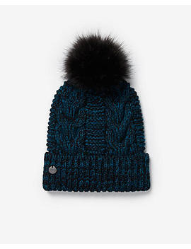 Marled Cable Knit Pom Beanie by Express