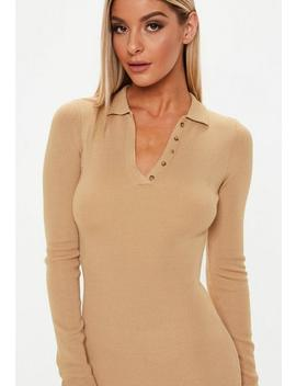 Camel Button Collar Long Sleeve Midi Dress by Missguided