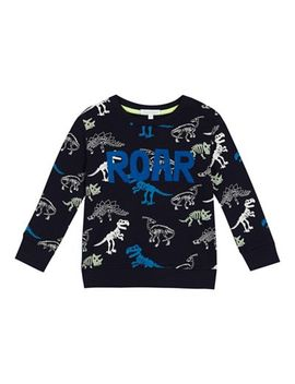 Bluezoo   Boys' Navy Skeleton Dinosaur Print Sweater by Bluezoo