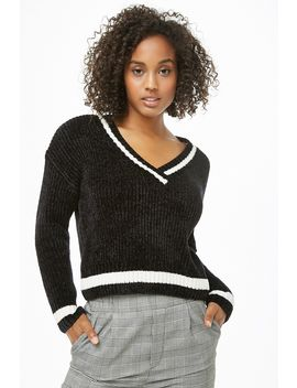 Chenille Striped Trim Jumper by Forever 21