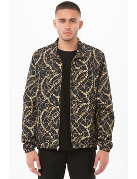 Chain Print Zip Front Windbreaker by Forever 21