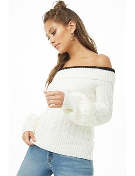 Off The Shoulder Cable Knit Jumper by Forever 21
