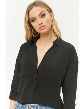 Textured Curved Hem Shirt by Forever 21