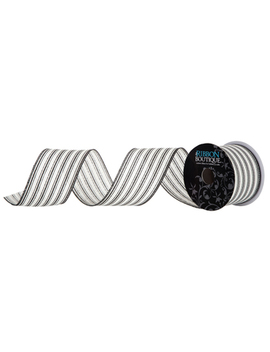 "Black Ticking Stripe Wired Edge Ribbon   2 1/2"" by Hobby Lobby"
