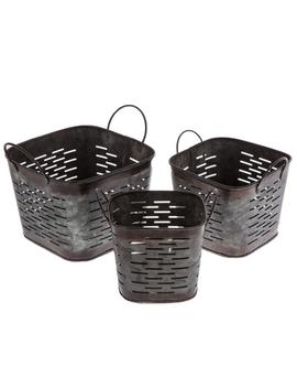 Dark Galvanized Metal Square Olive Bucket Set by Hobby Lobby