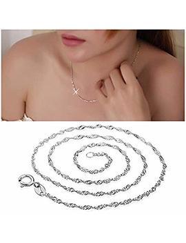 Gezichta Fashion Women Ladies Necklace, 925 Sterling Silver Water Wave Chain Necklace Choker by Gezichta