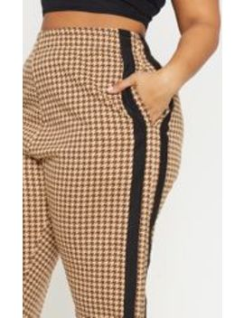 Plus Taupe Check Wide Leg Sweat Trouser  by Prettylittlething