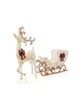 60 In. 160 Light Pvc Deer And 44 In. 120 Light Sleigh 8 Ft. by Home Accents Holiday