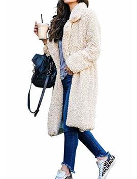 Chunoy Women Casual Long Sleeve Lapel Open Front Faux Shearling Shaggy Winter Warm Jacket Long Cardigan Coat by Chunoy