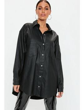 Tall Black Oversized Coated Denim Shirt by Missguided