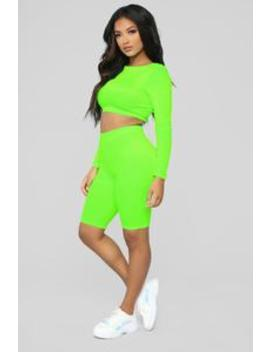Oh So Plush Neon Biker Short Set   Neon Green by Fashion Nova