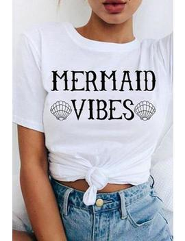 Mermaid Vibes Print Short Sleeve Basic T Shirt by Lupsona