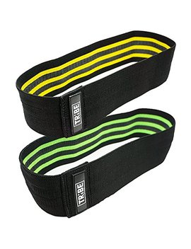 Resistance Hip Bands 2 Pack | Wod Leg Band For Hip Work Out Or Physical Therapy | Resistance Loops, Stretchable Fabric, Non Slip Elastic Grippy Inner Layer | Men And Women | Black by Tribe Lifting