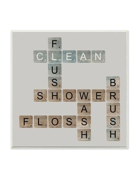 Scrabble Bathroom Illustration Wall Plaque Art by Stupell