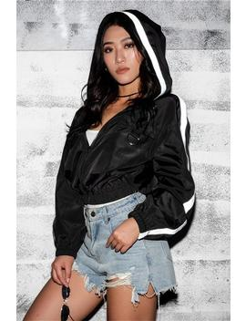 Cool Reflective Stripe Hooded Crop Jacket by Lupsona