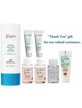 Makep:Rem Uv Defense Me Blue Ray Sun Cream   Sunscreen 70ml / 2.36 Fl.Oz. & Moisture Cream Mini 20ml, Whamisa Essence Toner 40ml, Cleanser 20ml... by Makep:Rem
