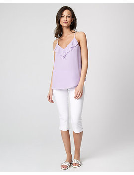 Chiffon Scoop Neck Ruffle Camisole by Le Chateau
