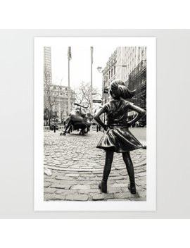 Fearless Girl & Bull   Nyc Art Print by