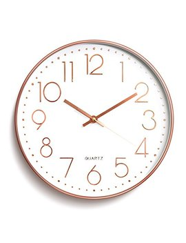 Wall Clock Battery Operated Silent Non Ticking Wall Clock 12inch Modern Quartz Design Decorative Indoor/Kitchen Rose Golden by Sin&Mi