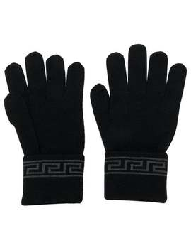 Grecca Knit Gloves by Versace