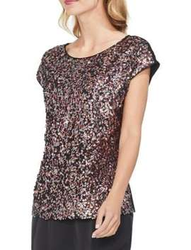 Gilded Rose Sequin Mesh Blouse by Vince Camuto