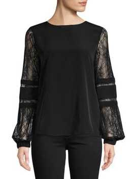Lace Long Sleeve Top by Calvin Klein