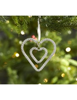 Double Hanging Beaded Heart Ornament by Pottery Barn