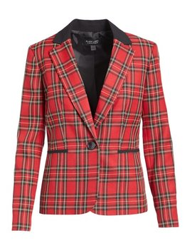 Fire Red Plaid Blazer   Women by Zulily