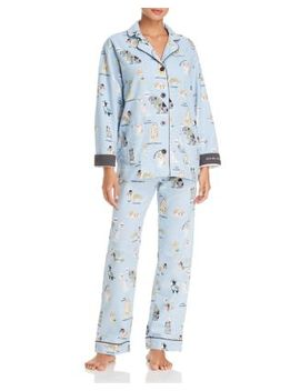 Kiss Me I'm Chewish Hanukkah Flannel Cotton Pajama Set by Pj Salvage
