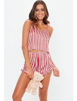 Red Candy Stripe Cami Satin Pyjama Set by Missguided