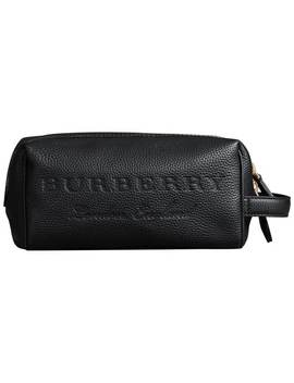 Embossed Grainy Leather Pouch by Burberry