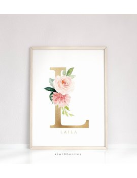 Boho Nursery Name, Baby Shower Gift, Baby Girl Wall Art, Personalized Prints, Blush Pink And Gold, Floral Initial Pint   Custom Name Art by Etsy