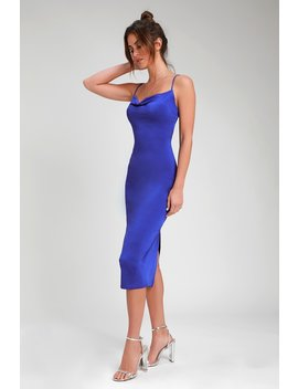 Shara Royal Blue Cowl Neck Midi Slip Dress by Lulus