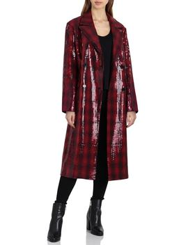 Sequin Plaid Double Breasted Coat by Badgley Mischka