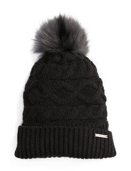Genuine Rabbit Fur Pom Beanie by Michael Michael Kors