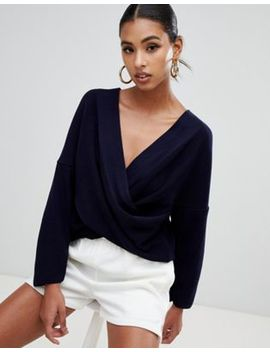 Boohoo Twist Front Jumper In Navy by Boohoo