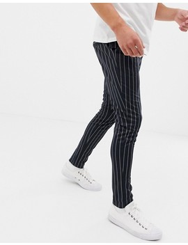 Only & Sons Drawstring Jogger With Vertical Stripe In Navy by Only & Sons