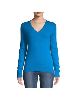 Essential Cashmere V Neck Sweater by Lord & Taylor