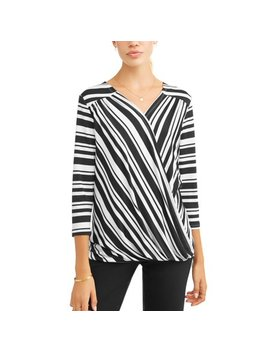 Women's Long Sleeve Balloon Sleeve Wrap Top by Como Blu