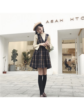 England Style Autumn Winter Women Sundress V Neck Vintage Plaid Sleeveless Dress Preppy Style Woolen Elegant Kawaii Cute Dresses by Alyaboomty