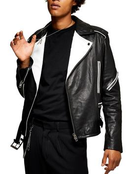 Contrast Leather Biker Jacket by Topman
